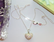 Sparkle necklace heart pendant on silver chain womens teenagers in gift pouch or gift box