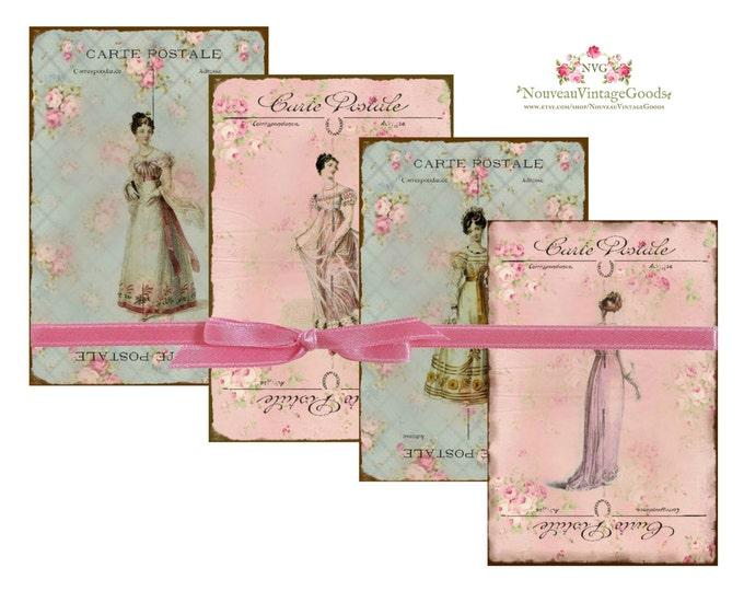 Digital Jane Austen, Printable Cards, Carte Postale, Regency Period, Digital Collage Sheet