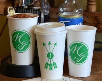 Custom Printed Paper Cups, Monogrammed Coffee Cups, Personalized Hot Drink Cups, Coffee Bar, Hot Chocolate Bar, Wedding Cups, Party Cups
