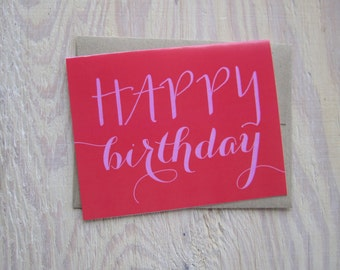 Happy Birthday Card — Typographic Red & Pink Colorful Greeting Card!