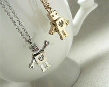 Tiny Robot Necklace  Resistant 16k Gold Plated Brass with Cubic Zirconia Christmas pendant, Holiday jewelry valentines gift