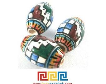 10 Peruvian ceramic large beads handpainted and glazed 20 mm