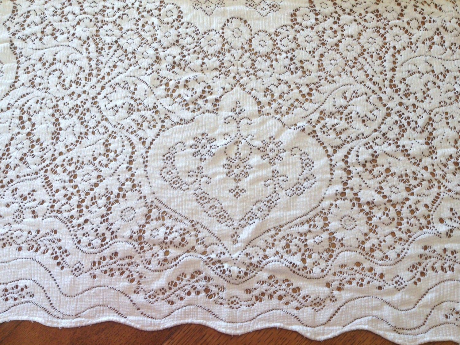 Lace tablecloth vintage creamy white cotton polyester for White cotton table cloth