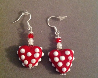 Earrings lamp work heart glass Swarovski Crystals pierced