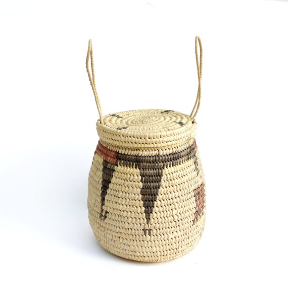 African Baskets With Lids: Vintage African Woven Basket With Lid & By ModernisticVintage