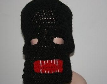 scary halloween inspired crochet ski mask hatsharp teeth fangs all