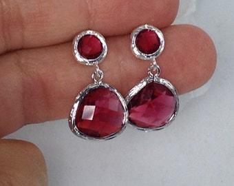 Glass Red Bridesmaid post Earrings Scarlet Red Earrings short Drop Dangle Earrings Red Wedding Earrings Ruby Earrings Ali4