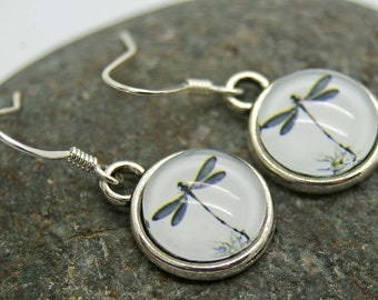 Dangle Earrings, Glass Cabochon Dragonfly Earrings - Dragonfly, Glass earrings, Summer, Wings, Butterfly