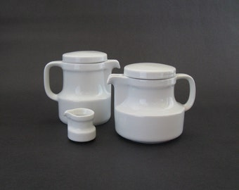 Eschenbach Germany Super Mod Individual Porcelain Teapot + Coffee Pot + Creamer - 1960s