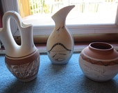 Vintage 1990s Native American and Mexican Pottery Vases and Bowl
