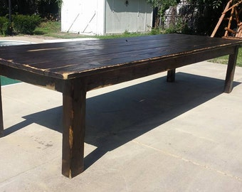 rustic 12 foot dark walnut stained distressed primitive farmhouse country cabin kitchen table custom - Primitive Kitchen Tables