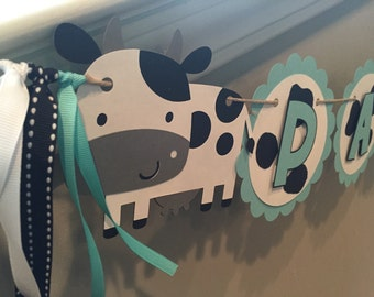Cow Birthday Banner, Milk and Cookies Party, Baby Shower Banner, First Birthday Party, Cow Themed Party Decor