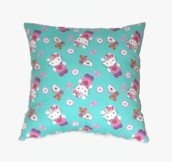 Decorative Aqua & Pink Hello Kitty 16x16 Throw Pillow
