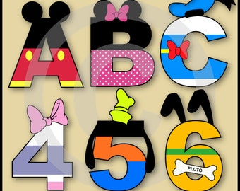 Mickey & Friends Alphabet Letters and Numbers Clip Art Pack