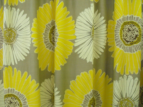 Fabric Shower Curtain Gray And Yellow Bathroom By