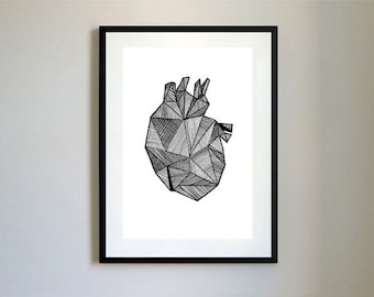 Anatomical Heart Illustration Print.