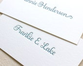 Letterpress Calling Cards, Gift Enclosure Cards,  Custom, Calligraphy, Event Planner, Logo, Script, Simple, Affordable