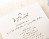 Letterpress Wedding Ceremony Programs - 1 color - Custom, modern, calligraphy, gold, Taupe, Script, Swirls, Simple, Grey, Monogram, Black
