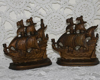 Vintage Cast Metal Ship Bookends
