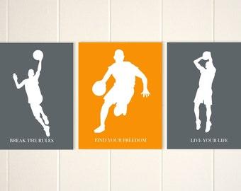 Basketball boy wall art, basketball, boys art, teen boy wall art, kids room art, inspirational art for boys, Set of 3
