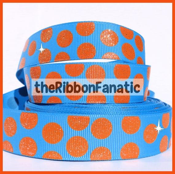 5 Yds 7 8 Quot Turquoise With Orange Glitter Jumbo Polka Dots