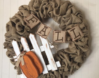 Fall wreath, fall burlap wreath, autumn wreath, Front door wreath