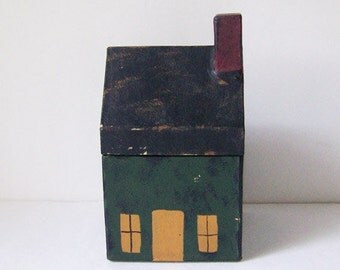 Vintage Hand Painted House Box