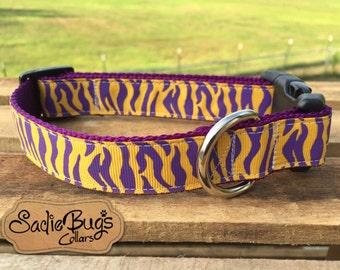 LSU Tigers stripe Dog Collar - Purple and Yellow