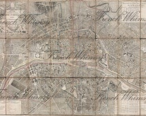 XL Street Plan Map of Paris 1797 France  Antique French Folded Map - Great Vintage Wall Art