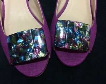 Vintage Shoe Clips - Rectangle Confetti