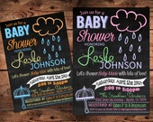 April Showers Baby Shower Invitation - Umbrella Baby Shower Invitation - Digital