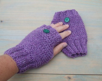 Ladies fingerless gloves in heather, wool and acrylic blend