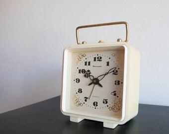 Square Alarm Clock, Soviet Desk Alarm Clock, Jantar Soviet Union Home Decor, Office Decor Plastic Case Clock,