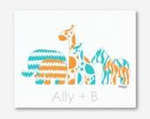 Aqua and Orange Nursery, Safari Nursery, Orange and Aqua Nursery, Baby Boy Nursery, Baby Girl Nursery, Elephant Art, 8x10 Print