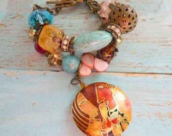 enamel cloisnne bracelet, art deco bracelet, bracelet turquoise, crystal turquoise bracelet, boho chic bracelet, 1930s bracelet