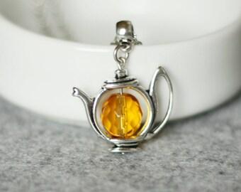 Tea Necklace Amber Topaz Necklace Teapot Necklace Silver Yellow Necklace Teapot Jewelry Tea Pot Necklace Gift For Tea Lovers Tea Party Tea