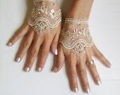 Light beige, Black, white, ivory,  pink, Wedding gloves bridal gloves  fingerless lace  gloves beaded pearl  and rhinestone   free ship 262