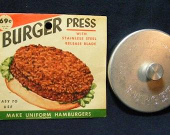 Burger Press, Hamburger Press, Vintage Heuck Co Press, Stainless Steel Blade, Meat Press, Vintage Cooking Item,