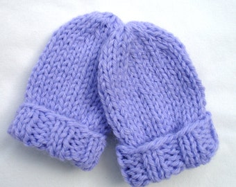 Knitted Baby Mittens - Knit Thumbless Infant Mittens - 3 to 12 Months - Lavender