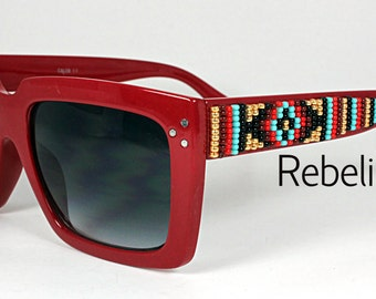 Hand Beaded Sunglasses Red Bolds