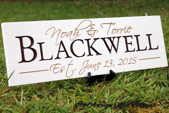 Wedding Gift Name Sign : ... Wedding Gift, Wedding Gift Last Name Establish, Family Name Sign