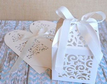 Lovely White Scroll Cut Wedding Favor Boxes - Set of 12