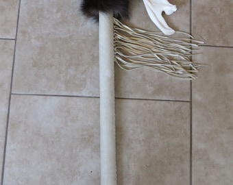 Native American Ceremonial Dance Stick with Moose Jaw