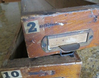 Two Early Antique Wood File Drawers