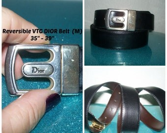 "Vintage Christian "" Dior "" REVERSIBLE  Black or Brown Leather 1"" Width Belt and Worn Gold Twistable To Reverse Buckle 35"" to 39"" M/L"
