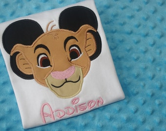 Simba or Kion--Disney Characters Mickey Mouse Ears Appliquéd Shirts or Onesies-- Family Vacation Shirts