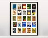 Great American Novels Typology - Literary Poster - History of Literature - Novel Poster - Writing Poster - Mockingbird - JD Salinger -