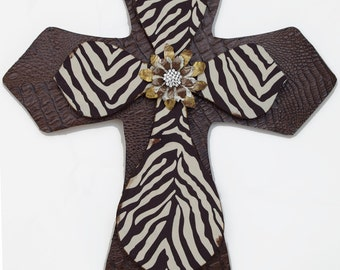 "24"" Brown and Cream Zebra Cross with Faux Leather Base"