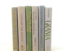 Pastel blue green gray decorative books, pastel book collection, wedding decoration, instant library, pastel blue green gray book set