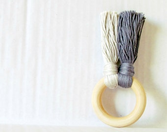 Grey wood Teether , teething toy for baby